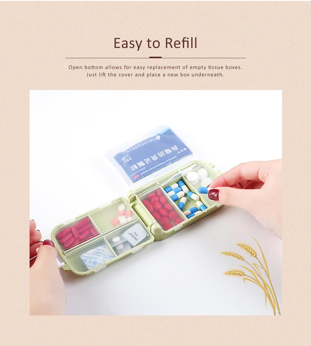 Non-Toxic Degradable 7 Day Weekly Pill Organizer, Large Capacity Wheat Straw Environmentally Friendly Portable Mini Pill Box 1