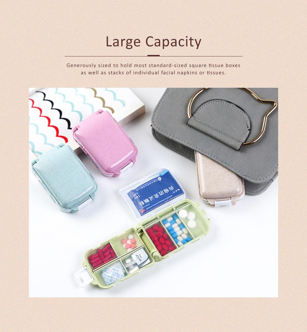 Non-Toxic Degradable 7 Day Weekly Pill Organizer, Large Capacity Wheat Straw Environmentally Friendly Portable Mini Pill Box 3