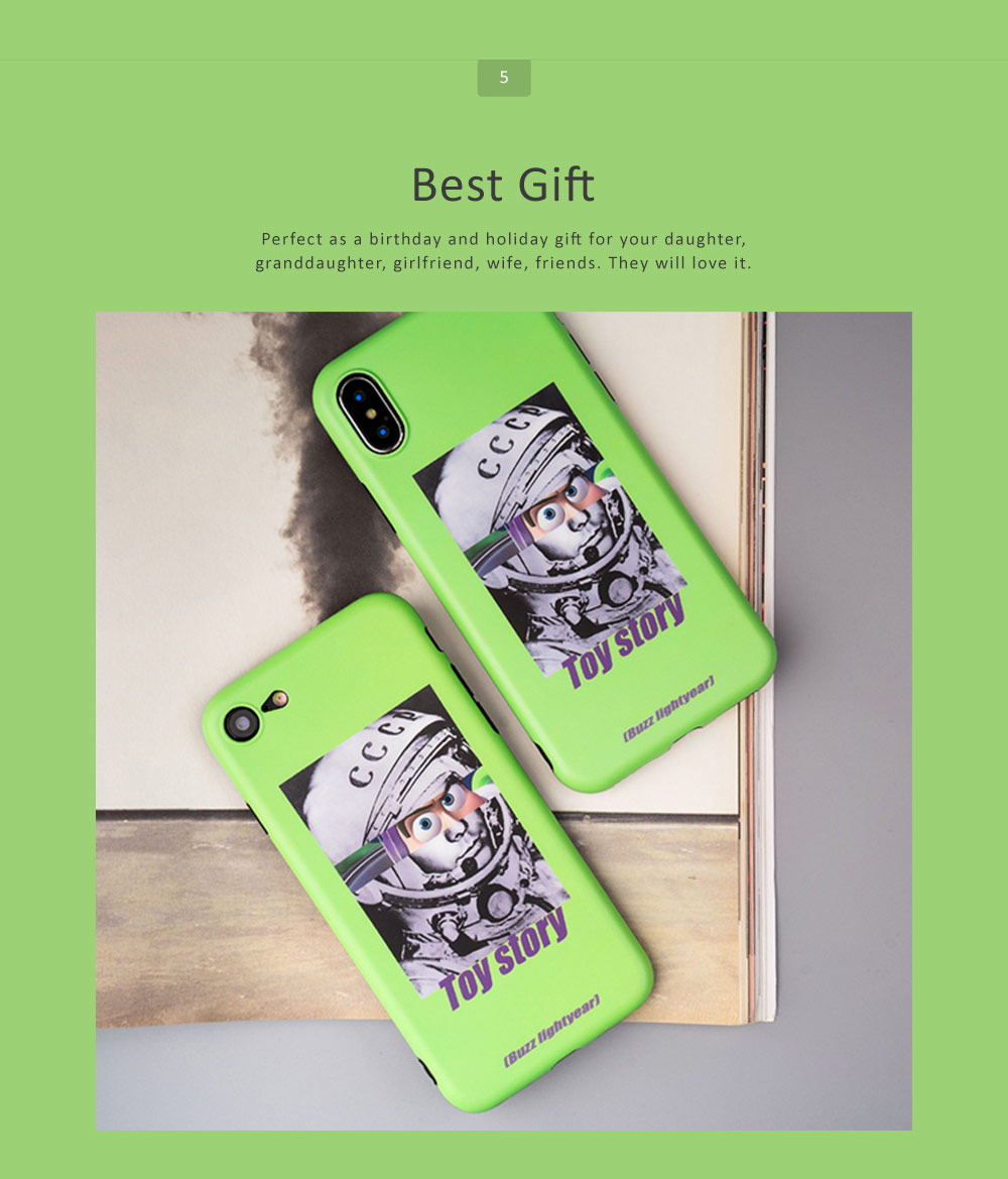Cute Phone Case Cartoon Soft TPU Back Case Cover Durable Matte Phone Protector for iPhone 6, 6s, 6p, 6sp, 7, 7p, 8, 8p, x 5