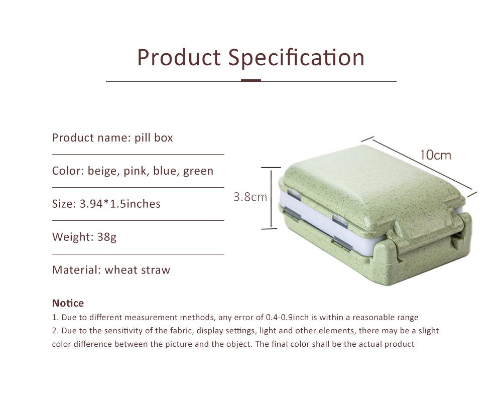 Non-Toxic Degradable 7 Day Weekly Pill Organizer, Large Capacity Wheat Straw Environmentally Friendly Portable Mini Pill Box 6