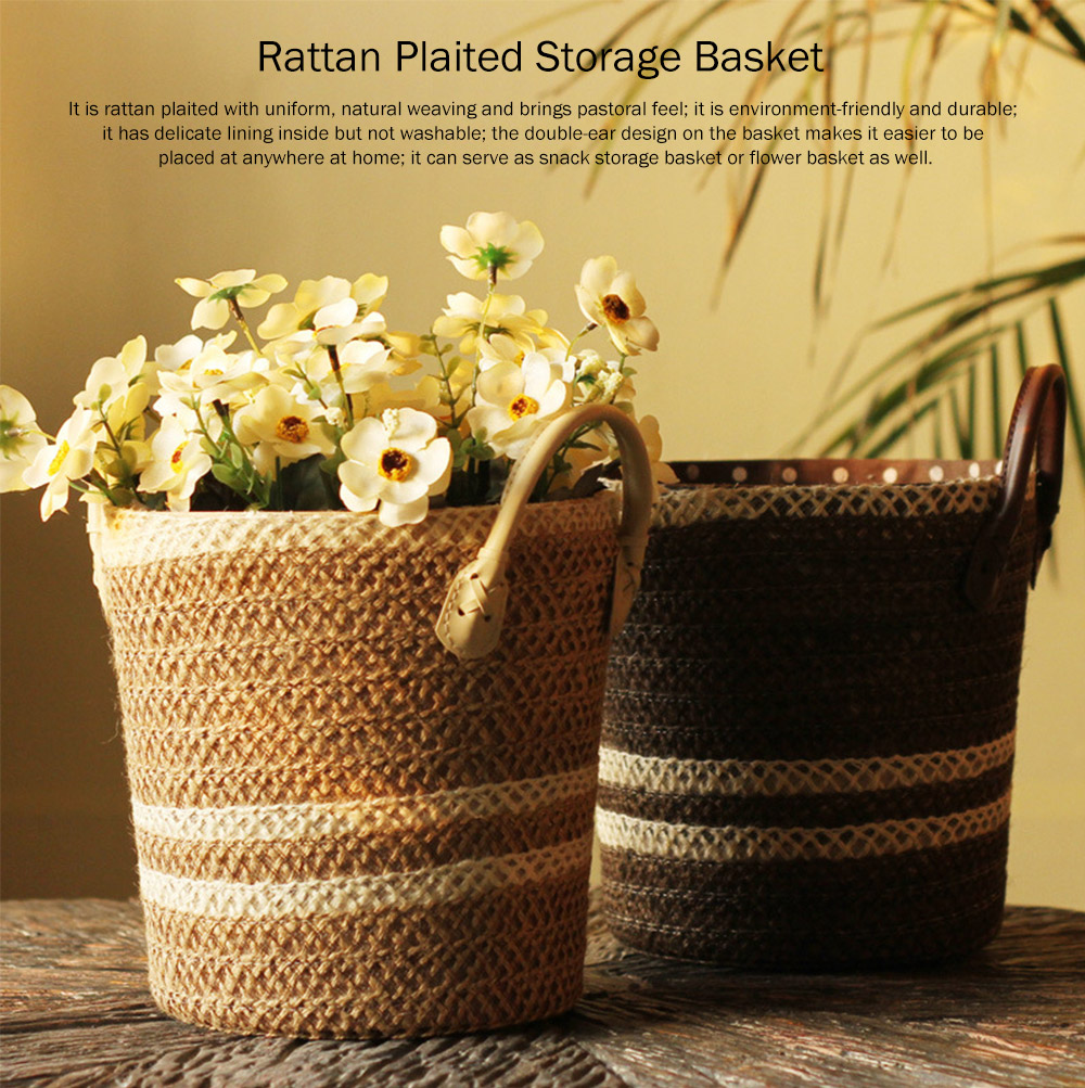 Rattan Plaited Storage Basket for Sundries, Household Storage Bucket 1 Gallon for Decoration Storage Bucket, Gray Pastoral Style 0