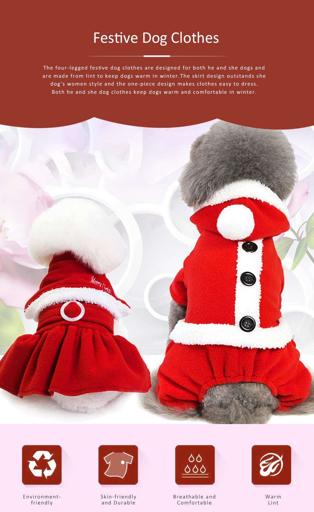 Festive Four-legged Clothes for Dogs Christmas and New Year Dress Skirt Clothes for Teddy Pomeranian Pet Cotton Suit 0