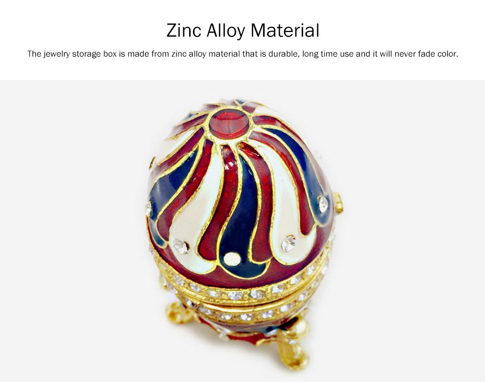 Alloy-made Decorative Egg Shaped Jewelry Box, Creative and Stylish Rhinestone Egg Jewelry Organizer 1