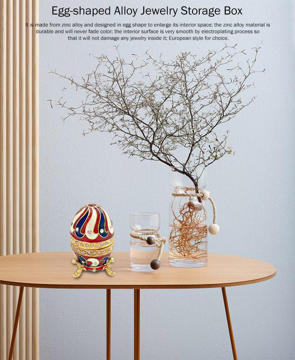 Alloy-made Decorative Egg Shaped Jewelry Box, Creative and Stylish Rhinestone Egg Jewelry Organizer 0