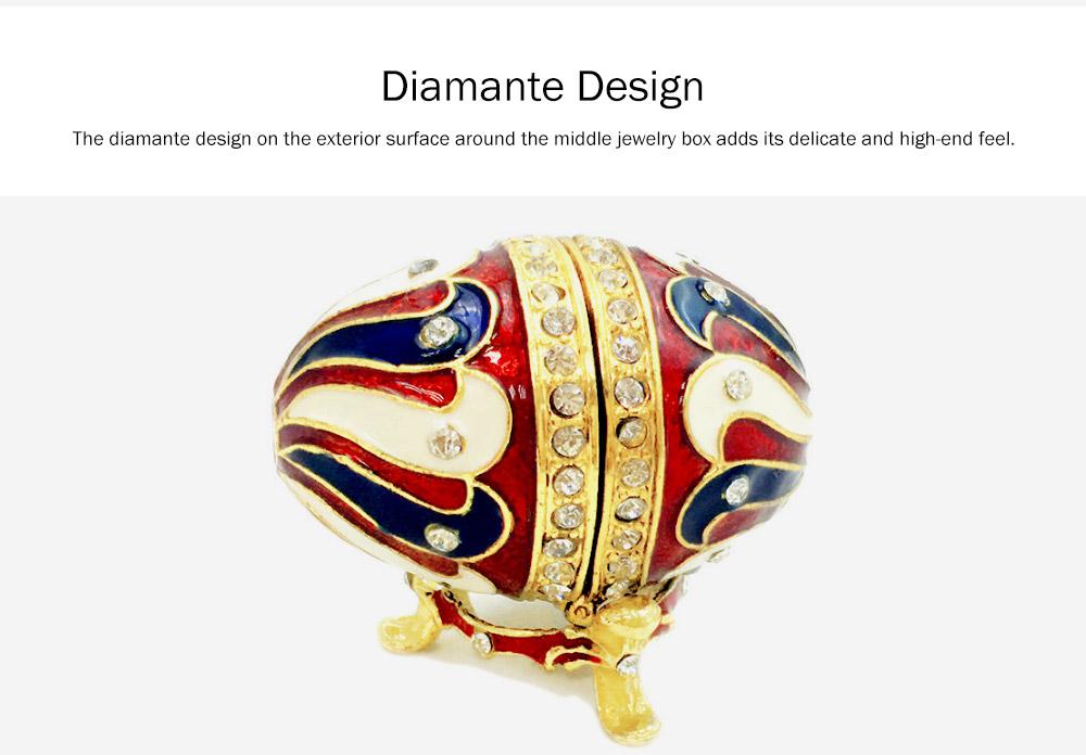 Alloy-made Decorative Egg Shaped Jewelry Box, Creative and Stylish Rhinestone Egg Jewelry Organizer 2