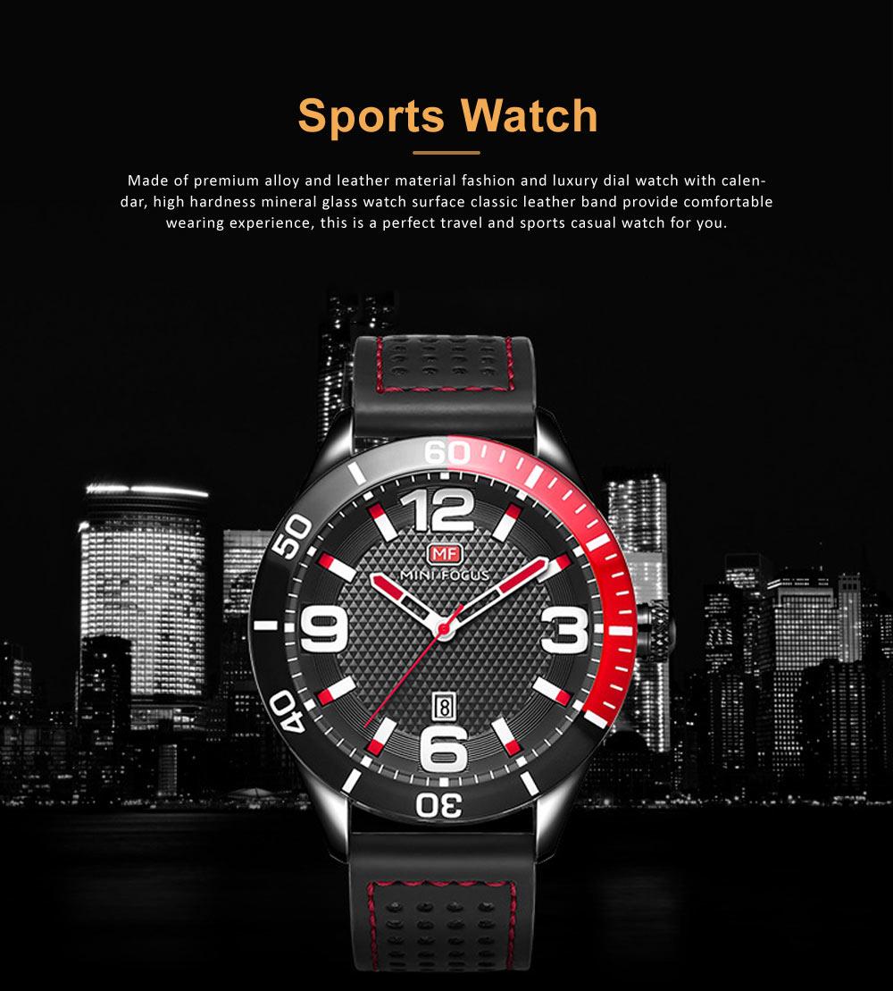 Men's Calendar Quartz Watch with Stylish Casual Leather Strap, Digital Waterproof Sports Watch for Sport & Business Work 0