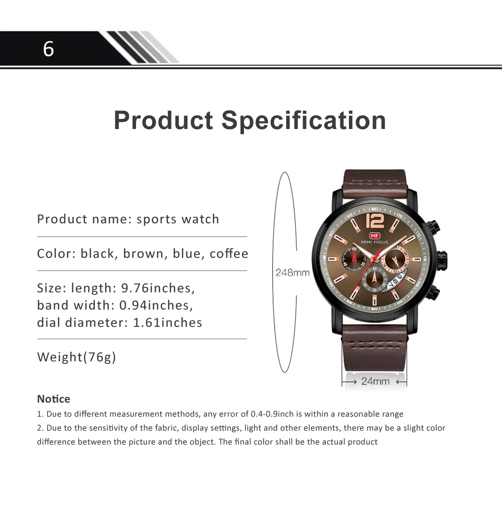 Men's Calendar Quartz Luminous Watch, Waterproof Sports Watch with Stylish Casual Leather Strap for Sport & Business Work 6