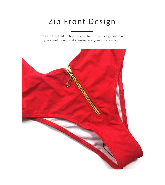 Women's Swimsuit Zipper Front High Waist High Cut Two Piece Bikini Sets Fashion Sexy Beachwear 3