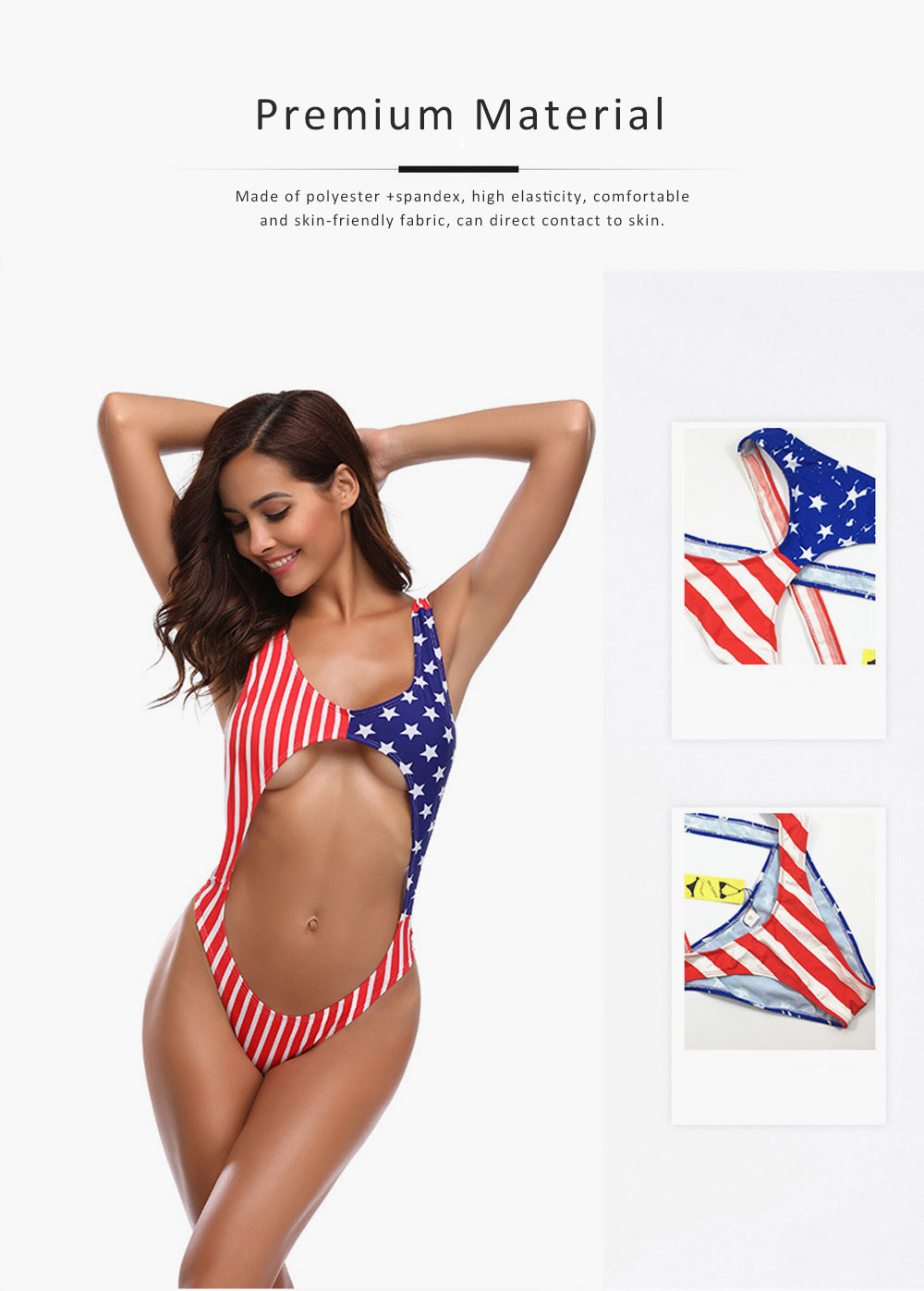 Womens Swimsuit V-Neck Sexy Bikini Backless American Flag One Piece High Waist Swimwear Bathing Suit 2