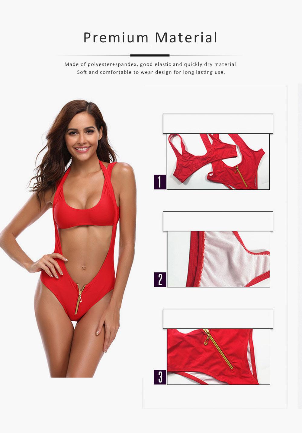 Women's Swimsuit Zipper Front High Waist High Cut Two Piece Bikini Sets Fashion Sexy Beachwear 2