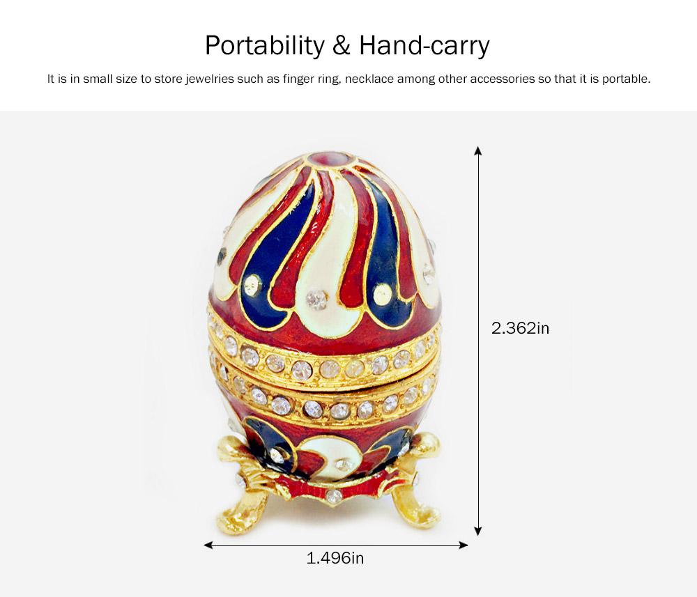 Alloy-made Decorative Egg Shaped Jewelry Box, Creative and Stylish Rhinestone Egg Jewelry Organizer 4