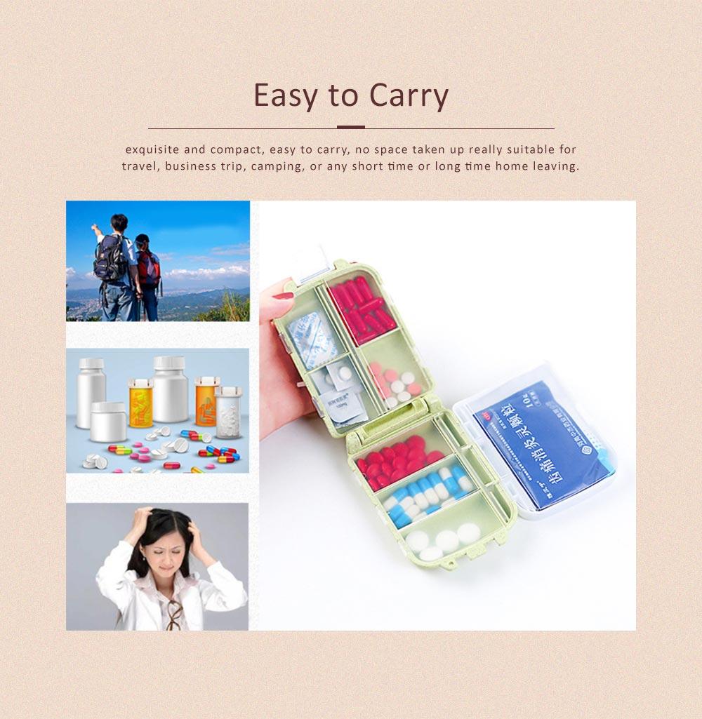 Non-Toxic Degradable 7 Day Weekly Pill Organizer, Large Capacity Wheat Straw Environmentally Friendly Portable Mini Pill Box 5