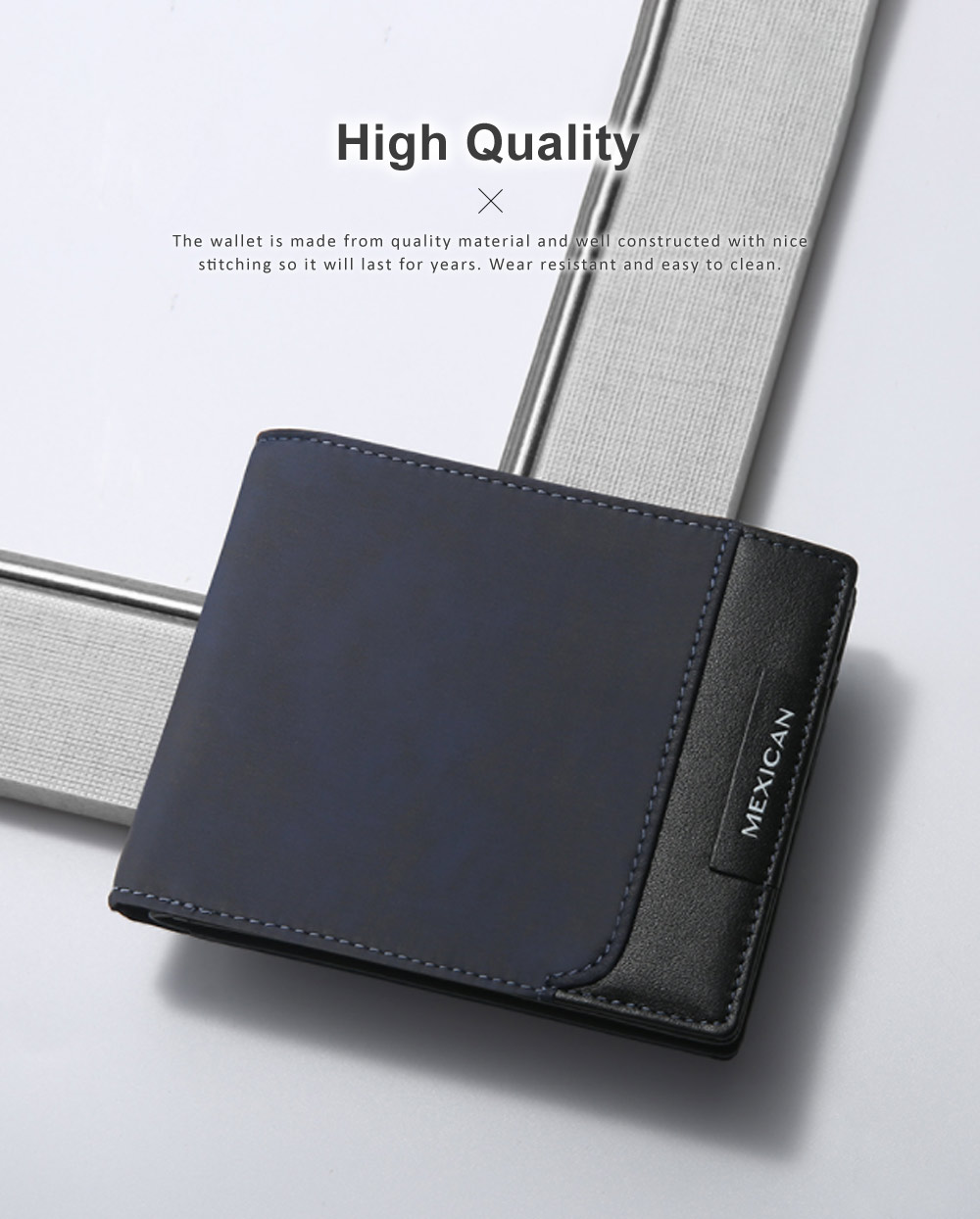 RFID Blocking Slim Bifold Retro Money Clip, Leather and Polyester Credit Card Wallets Gifts for Men 2