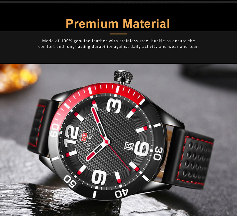 Men's Calendar Quartz Watch with Stylish Casual Leather Strap, Digital Waterproof Sports Watch for Sport & Business Work 4