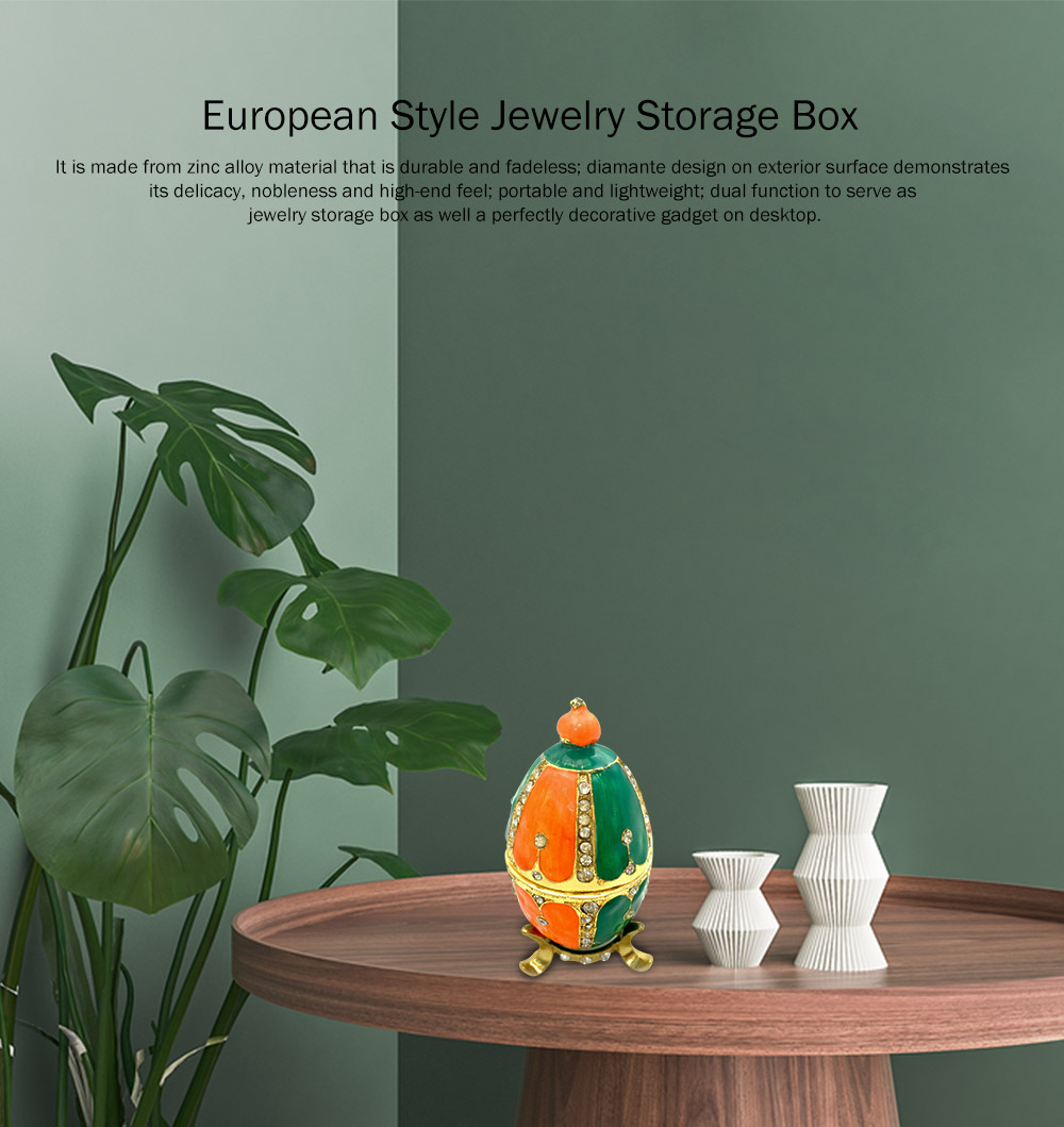 Creative and Color Painted Decorative Egg Jewelry Storage Box with Glass Top-selling Alloy-Made Jewelry Storage Container 0