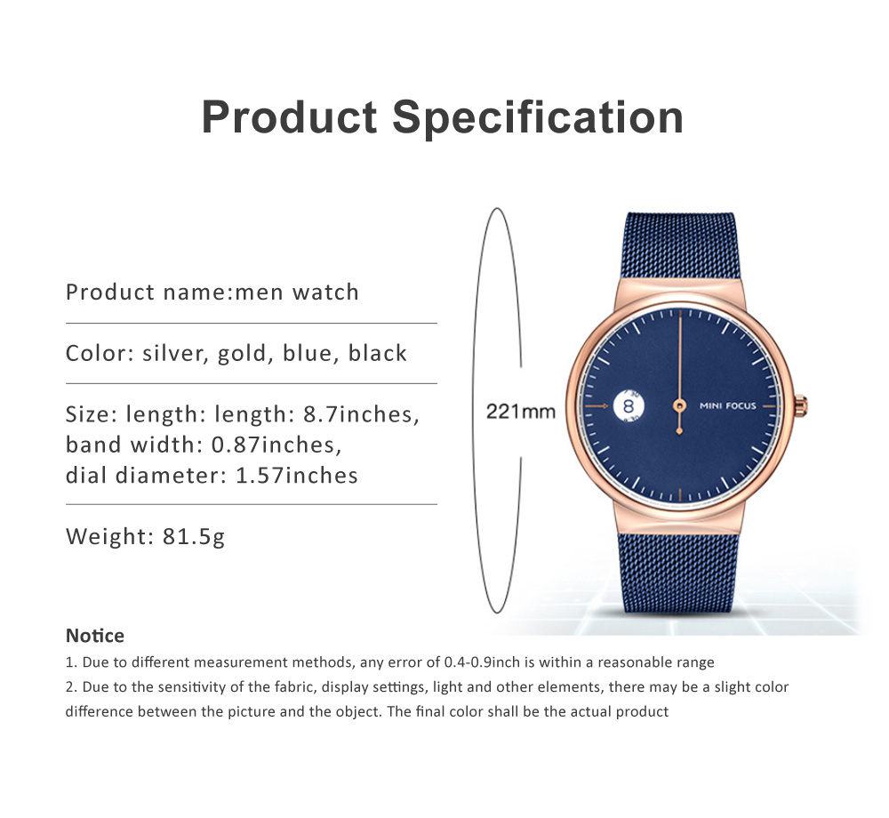 Men's Watch Fashion Calender Quartz Dail Stainless Steel Mesh Band Waterproof Wrist Watch for Gifts 6