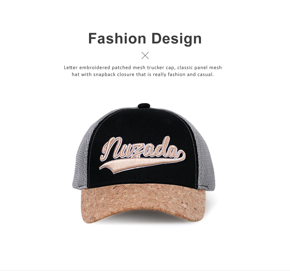 Snapback Hip Hop Baseball Caps, Unisex Letter Embroidered Mesh Cotton Breathable Trucker Hat for Gifts 1