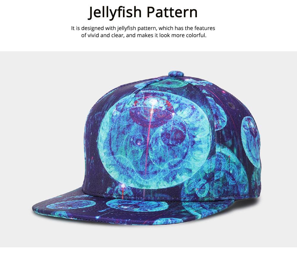 Hip-hop Baseball Cap for Men Women with Jellyfish Pattern Adjustable for Sunny Day Outdoors Cap 2