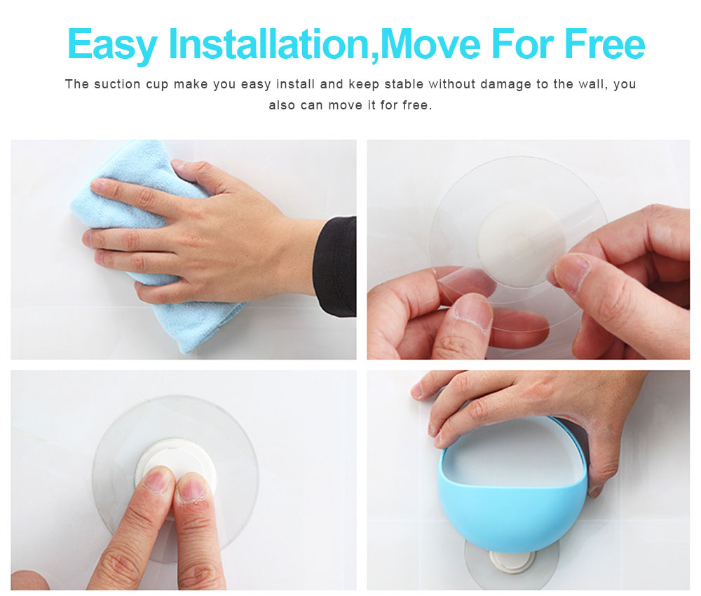 Plastic Suction Cup Soap Holder for Bathroom Toothbrush Box Dish Accessories, Punch Free Wall Mounted Soap Storage Case 6