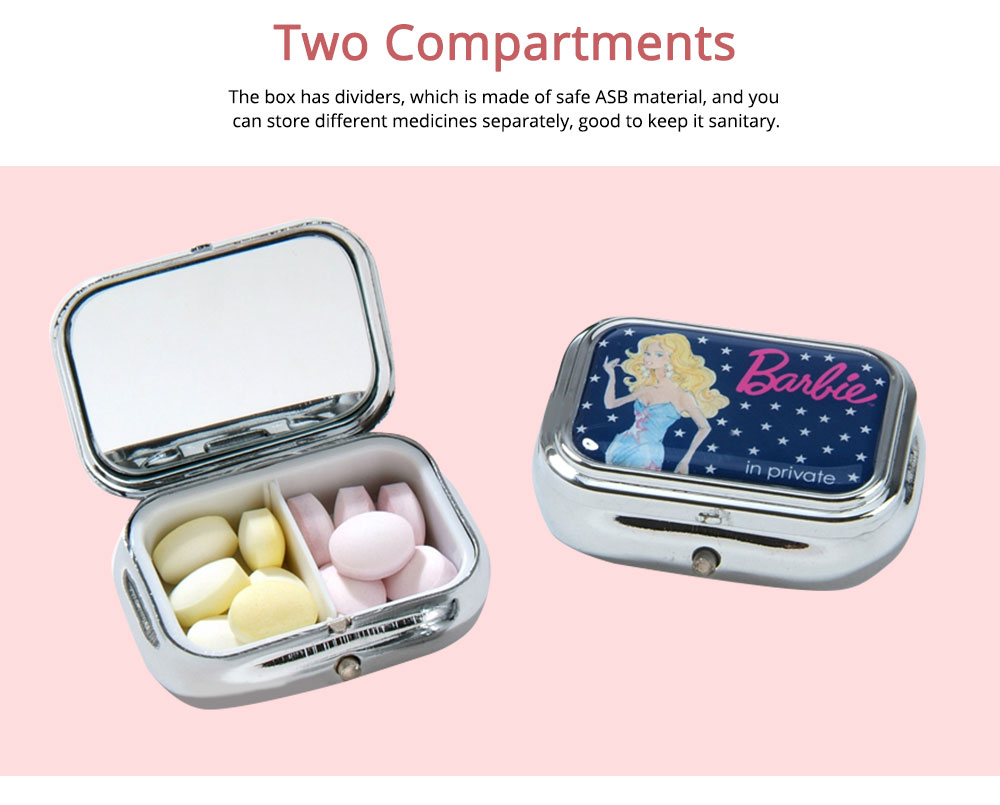 ASB Stainless Steel Pill Box with Two Cells Mirror Small Container for Medicine False Eyelashes Dispenser Portable Case 2