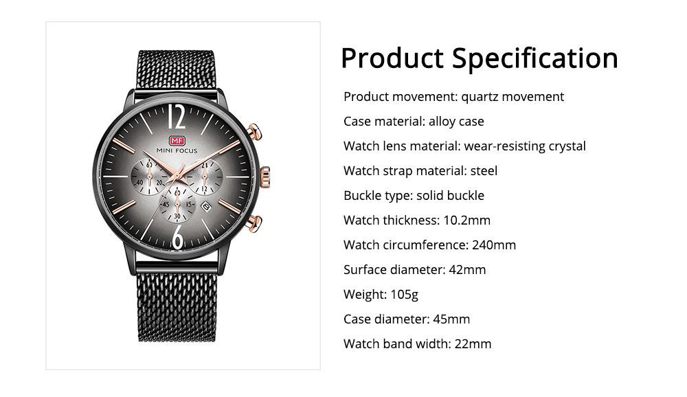 Wear-proof Stylish Watch, Skin-friendly Steel Strap Watch for Men, Water-proof Quartz Movement Round Alloy Dial Watch 7