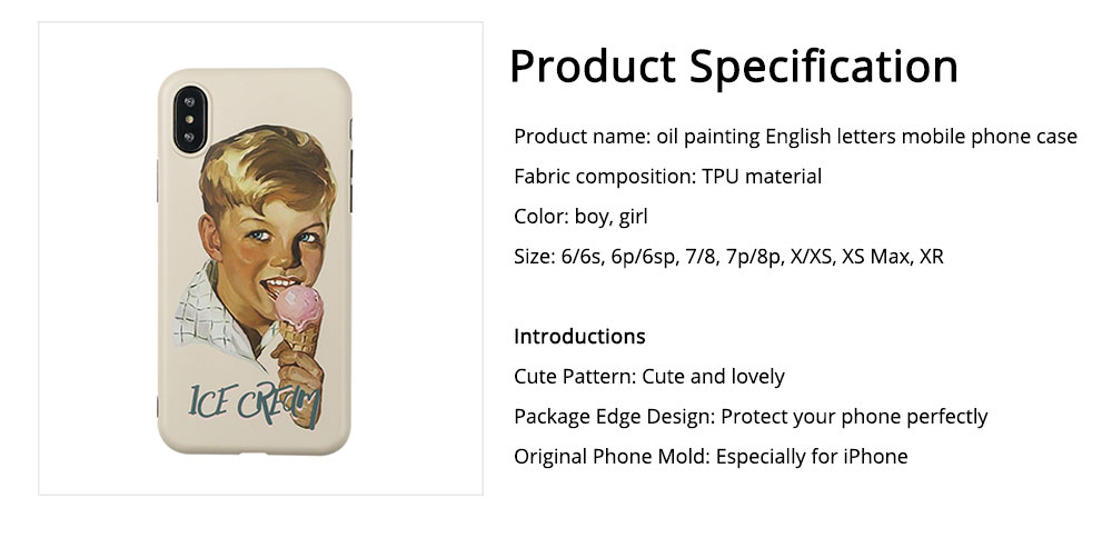 Oil Painting English Letters iPhone XS Case, Cute Boy and Lovely Girl Pattern 7P/8P Phone Cover 6