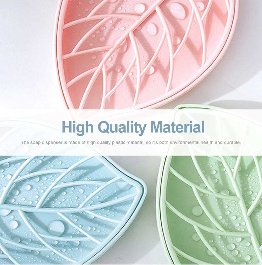 Plastic Soap Box Leaf Shape Shower Soap Holder with Drain Container, Home Bathroom Kitchen Essential Plastic Soap Container 5