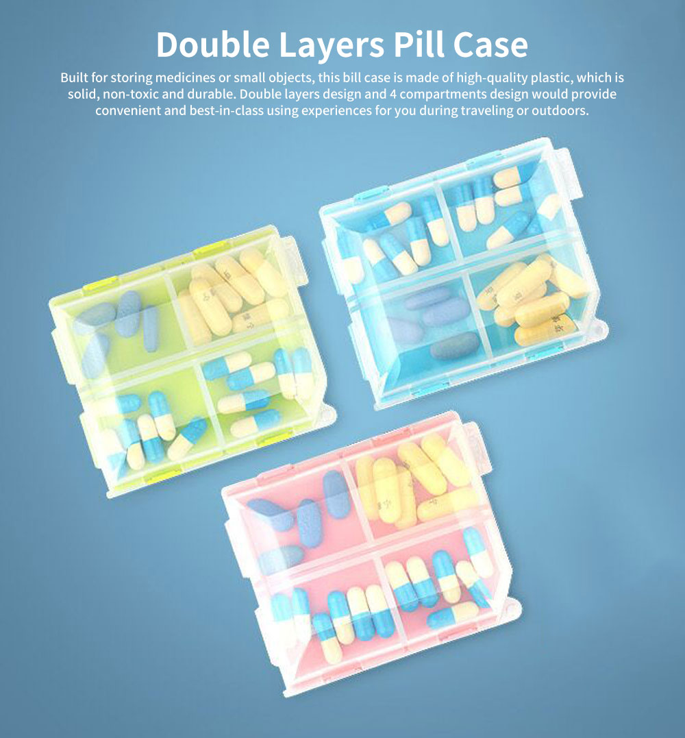 Portable Mini Double Layers Transparent Pill Case, Large Capacity Travel Outdoors Small Jewelry Storage Box 0