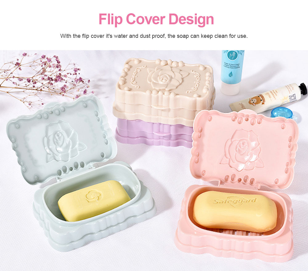 Portable Travel Bathroom Shower Soap Holder with Creative Flip Cover, Hollow Drain Soap Container Kitchen Bathroom Essential 3