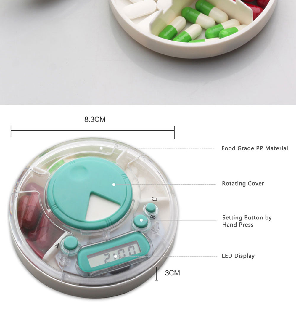 7-Day Electric Pill Box Medicine Organizer Container with Timer Alarm Clock Reminder for Patients 2