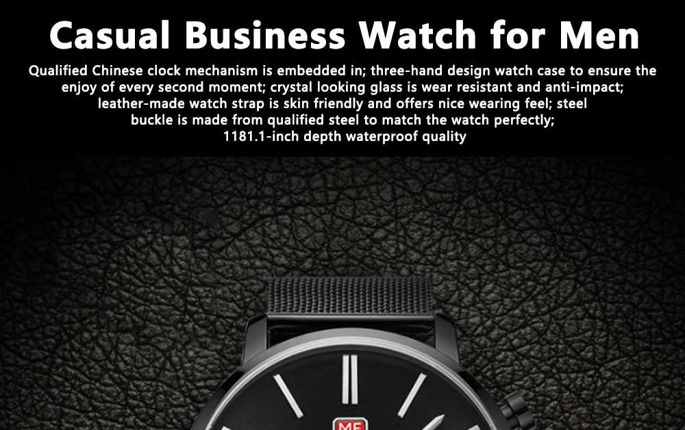 Men's Business Casual Simple Quartz Analog Wrist Watch, Quartz Waterproof Wrist Watch with Leather Band Classic Gift 0