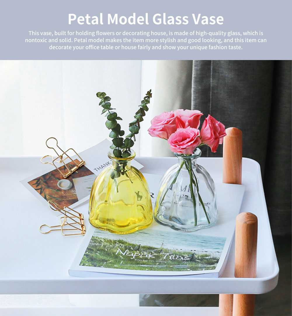Transparent Colored Glass Petal Model Small Caliber Glass Vase, Stylish Office Household Bedroom Table Decoration Ornament Glass Bottle 0
