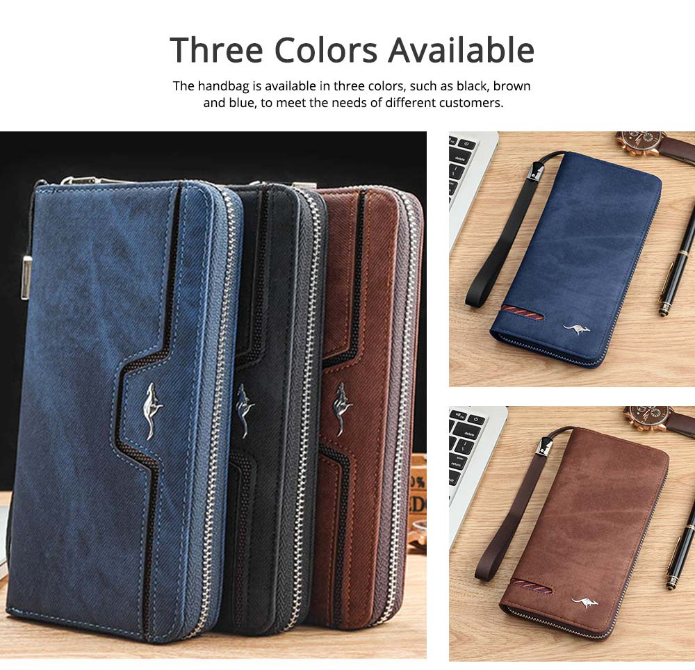 Men's Clutch with Kangaroo Pattern for Men Women Multiple Pockets Notecase Practical Wallet 5
