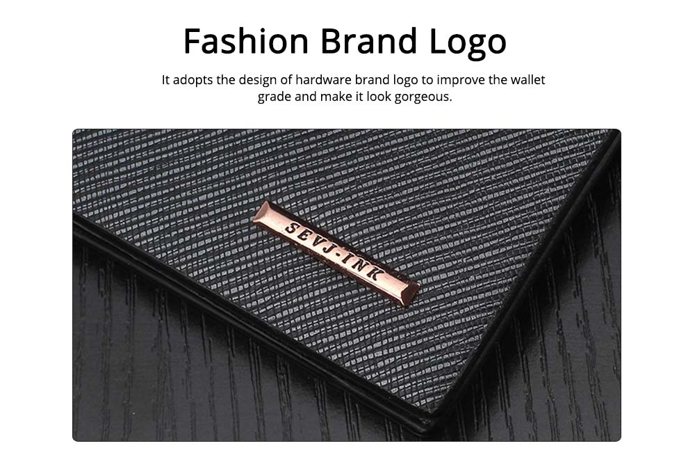 Long and Slim Men's Wallet with Study and Durable PU Leather Material, Hardware Fashion Brand Logo Business Wallet 1