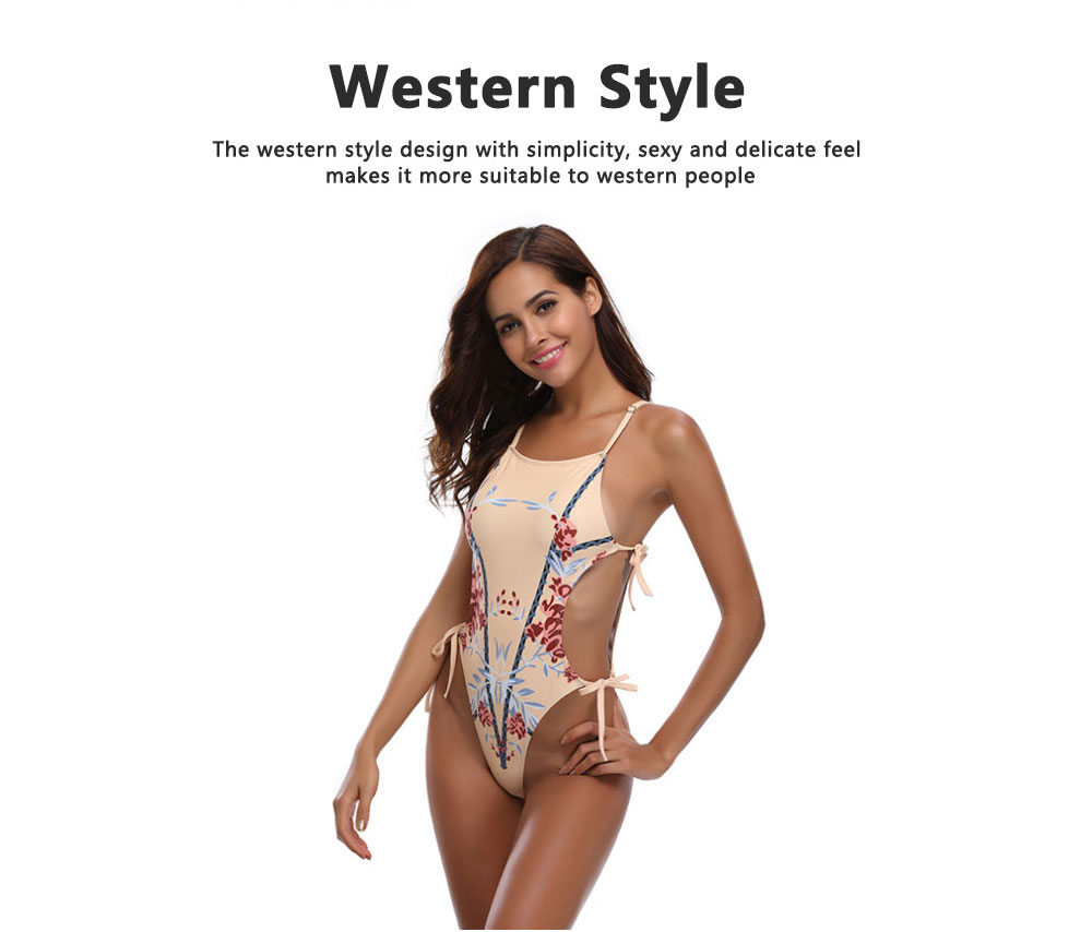 New Style Bikini Swimsuit for Women in 2019, One-piece Floral Pattern Swimwear Bathing Suit 3