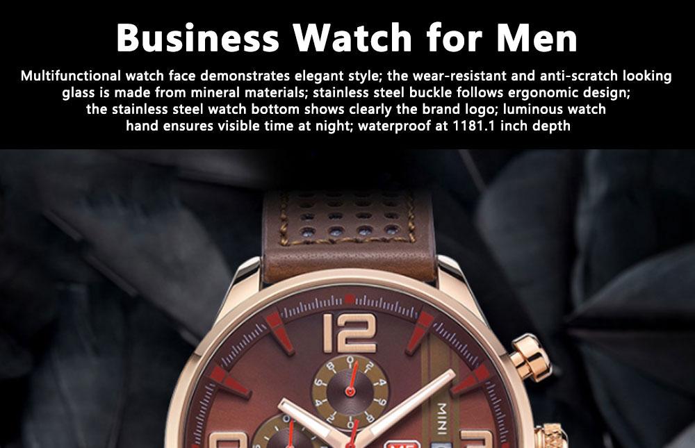 Mini Focus Men's Business Watch, MINI FOCUS Stylish Luminous Watches Leather Bracelet 0