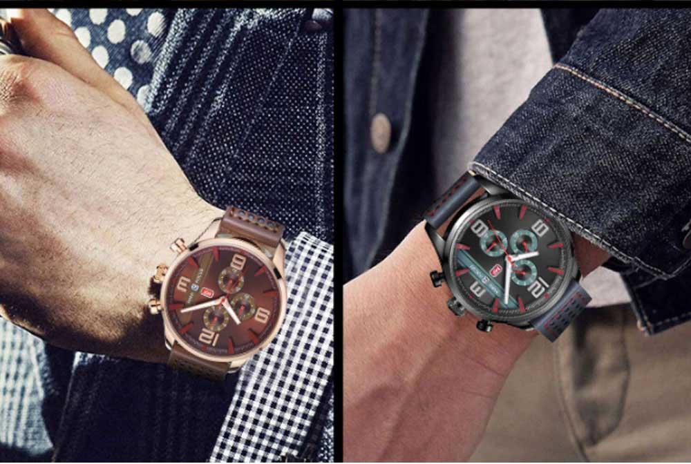Mini Focus Men's Business Watch, MINI FOCUS Stylish Luminous Watches Leather Bracelet 9