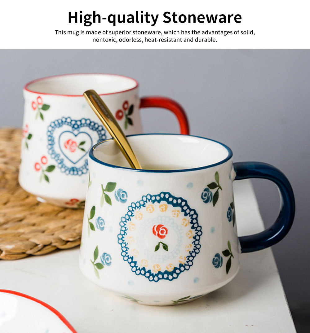 Cute Delicate Elegant Ceramics Mug with Cherry Pattern, Large Capacity Underglaze Household Water Cup 1
