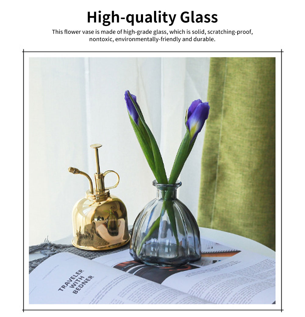 Transparent Colored Glass Petal Model Small Caliber Glass Vase, Stylish Office Household Bedroom Table Decoration Ornament Glass Bottle 1
