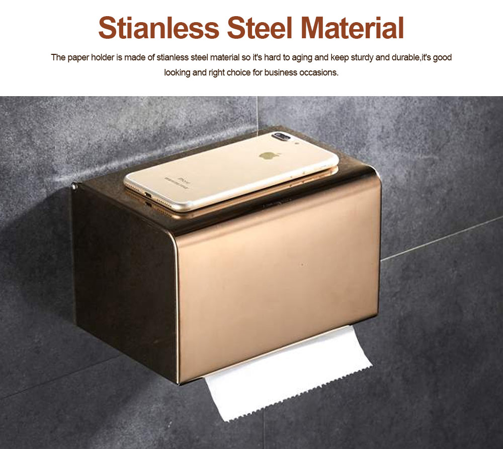 Punch free Stainless Steel Toilet Paper Holder, Wall Mounted Nail Free Waterproof Paper Storage Box for Bathroom 2