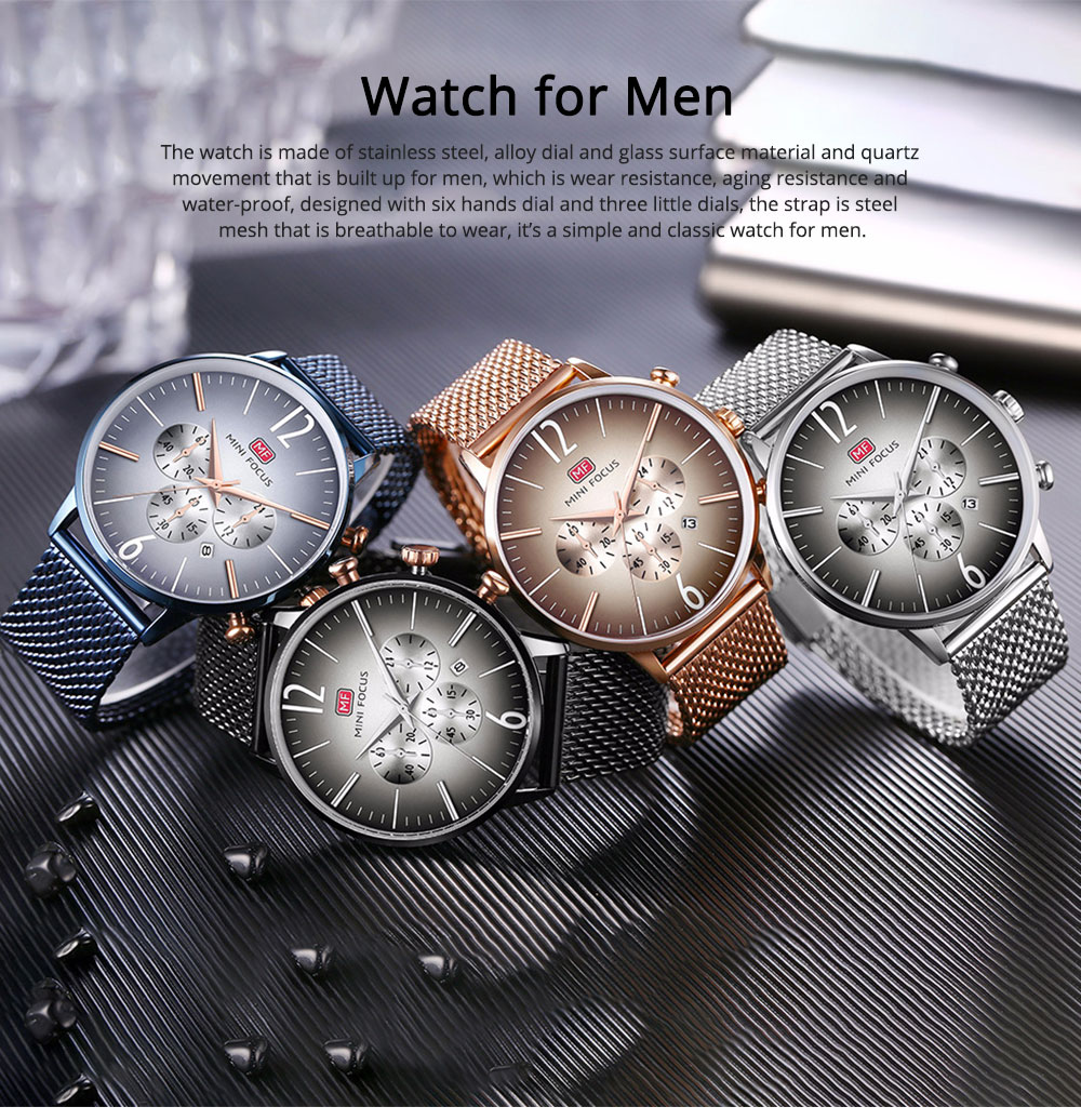 Wear-proof Stylish Watch, Skin-friendly Steel Strap Watch for Men, Water-proof Quartz Movement Round Alloy Dial Watch 0