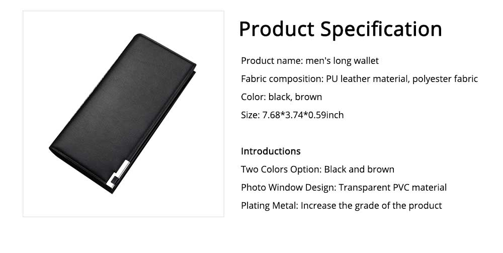 Delicate Package Edge Business Wallet, Men's Long Wallet with PU Leather Polyester Fabric 6