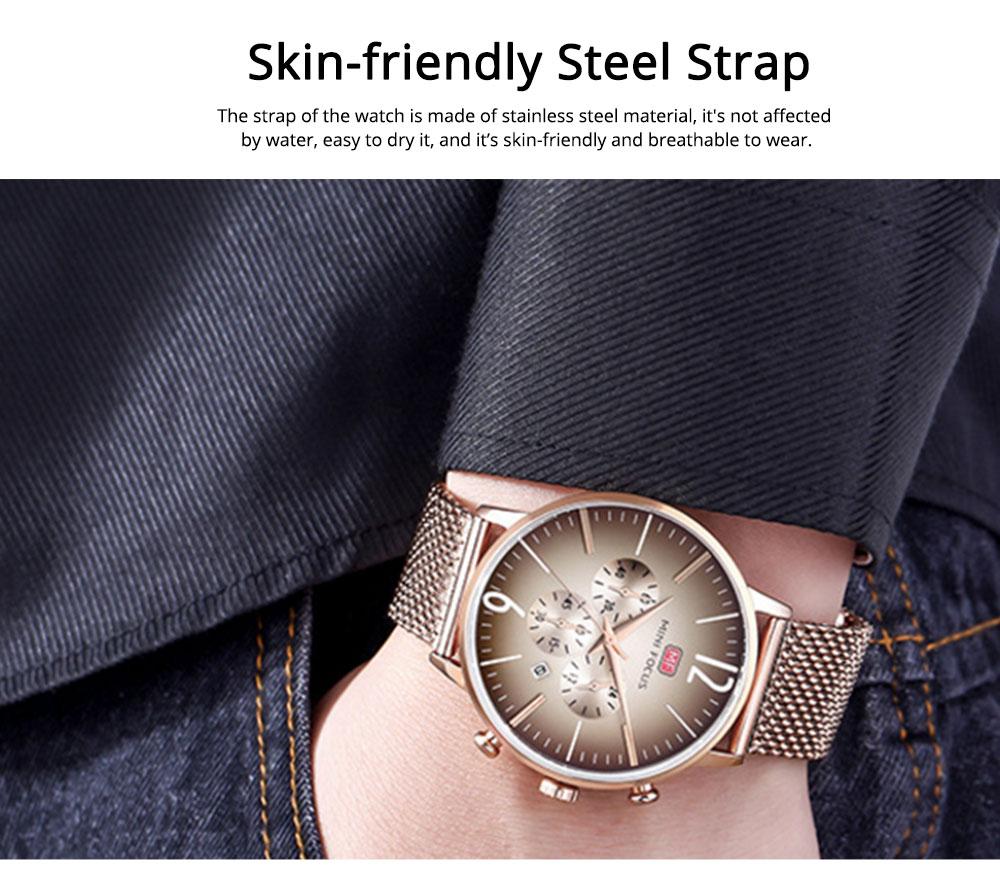Wear-proof Stylish Watch, Skin-friendly Steel Strap Watch for Men, Water-proof Quartz Movement Round Alloy Dial Watch 6