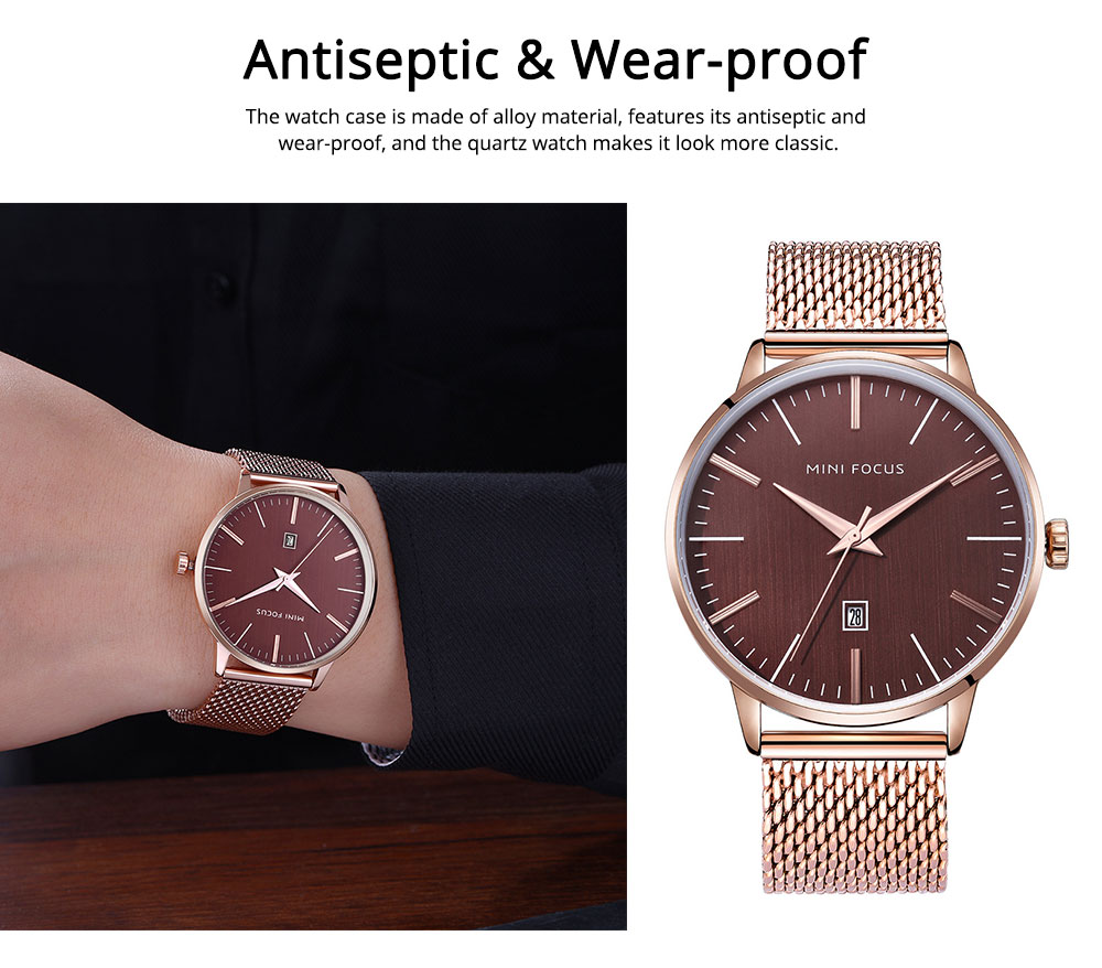 Steel Strap Quartz Watch for Men, Water-proof Round Alloy Dial Watch Wear-proof Classic Watch 4