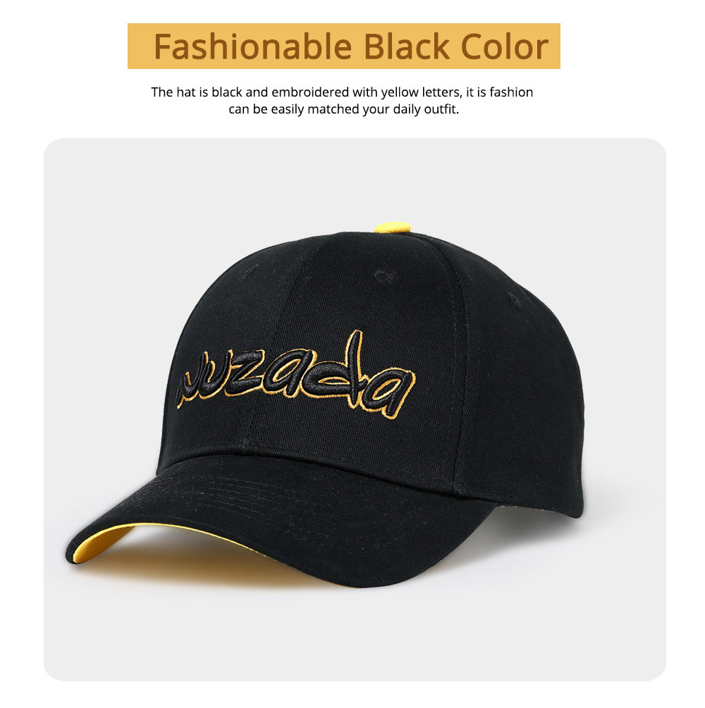 Hip-hop Cap with 3D Embroidery for Women Men, Sunny Day Essential Cap with Adjustable Strap 3