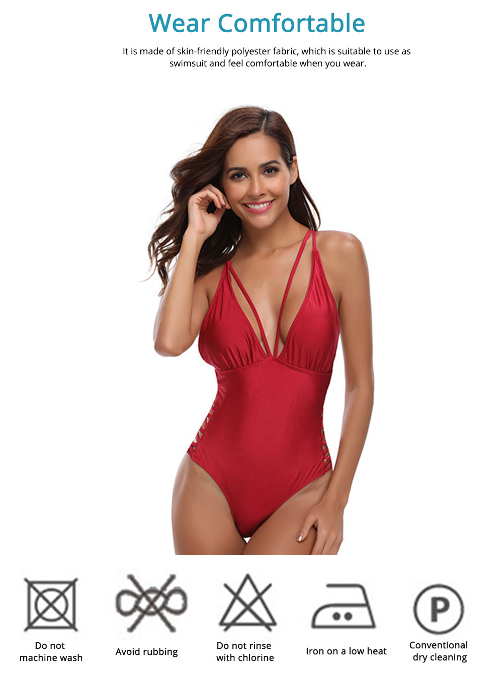 Sexy Swimsuit for Women with Skin-friendly Polyester Fabric, One-piece Side Cross Strap Western Style Bikini 5