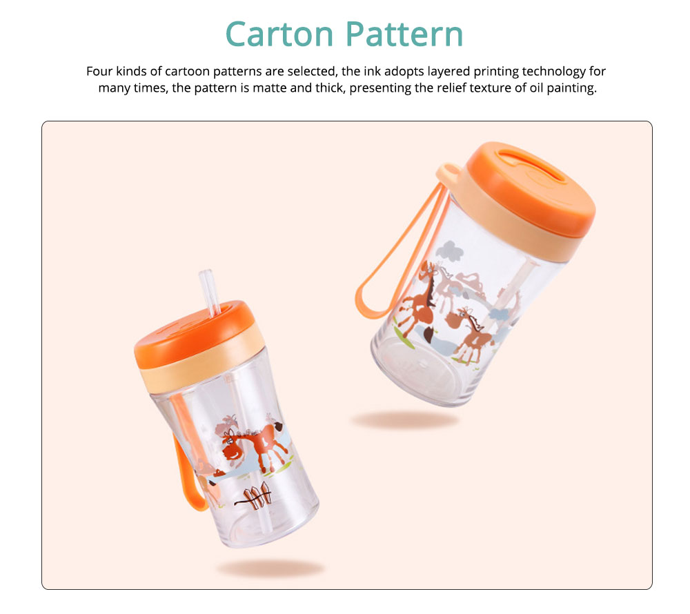 Safe Material Bottle with Straw Leak-proof Glass Choke-resistance for Baby Learning Drink Cup 1