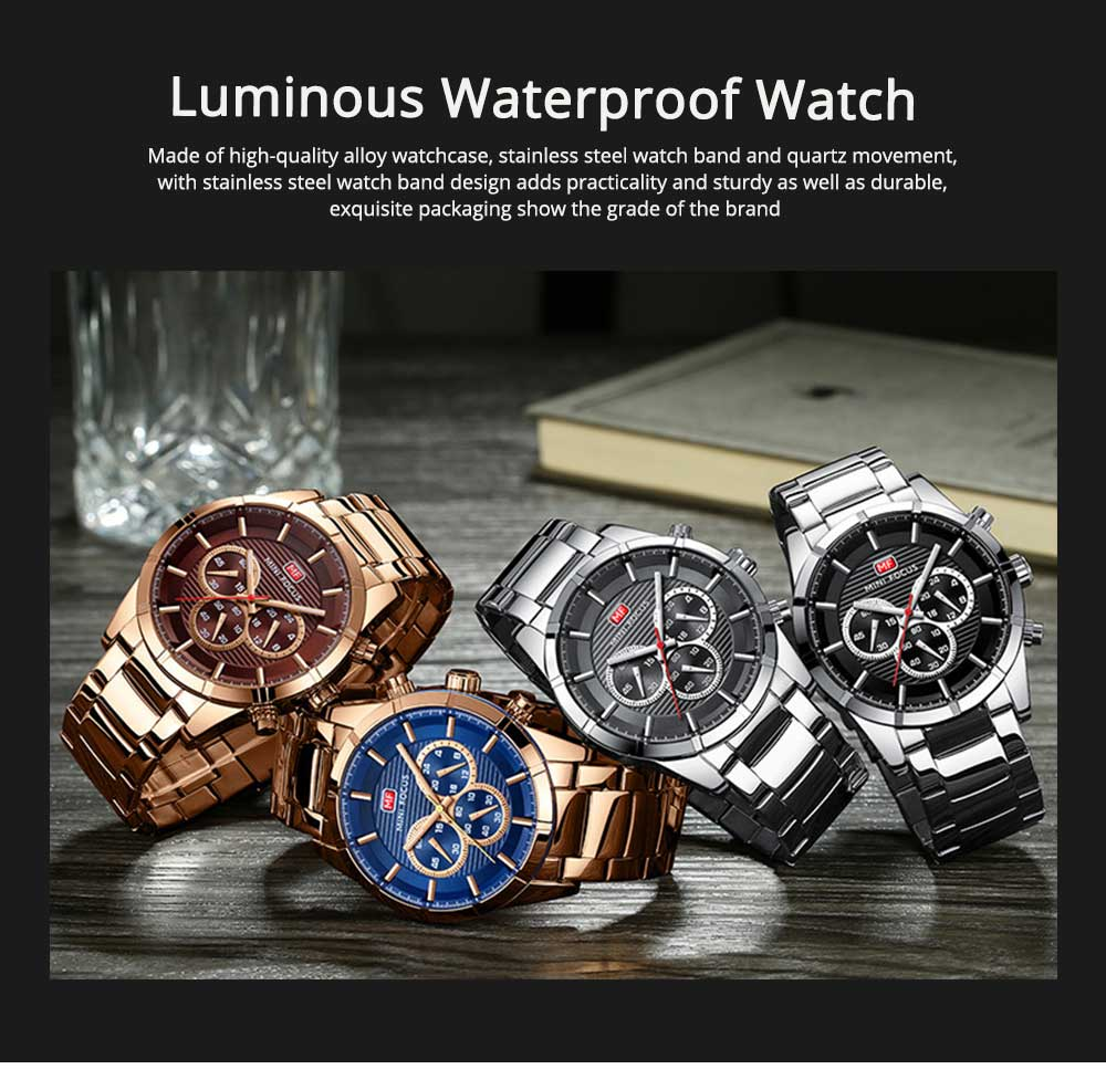 Luminous Waterproof Watch for Party Daily Life, Alloy Watchcase and Stainless Steel Watch Band Men's Wrist Watch 0