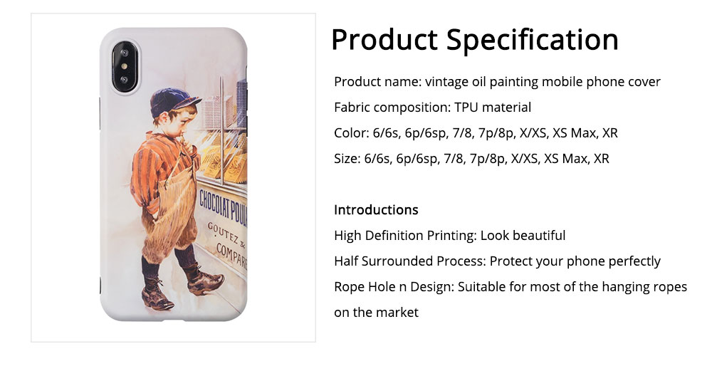 Vintage Oil Painting Mobile Phone Cover, Greedy Little Boy Printing  Phone Case for 6s, 6sp, 7p/8p, XS, XR 6