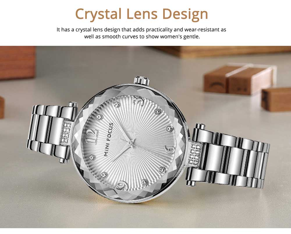 Lady's Watch with Diamonds Imported Quartz Movement for Business, Wear-resistant Crystal Lens Delicate Watches 2